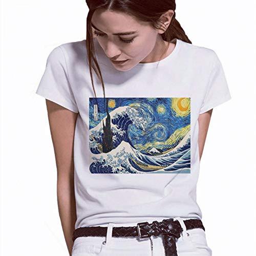 LIULINUIJ Frauen-T-Shirt Van Gogh-Ölgemälde-Engels-Spitzen-Grafik-T-Stück Frauen-ÄsthetischesDavid Harajuku-Engels-Shirt