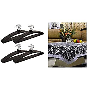 Kuber Industries 24 Piece Plastic Hanger, Black (Cthang08) & Center Table Cover Transparent Printed 40 * 60 Inches (White) Combo