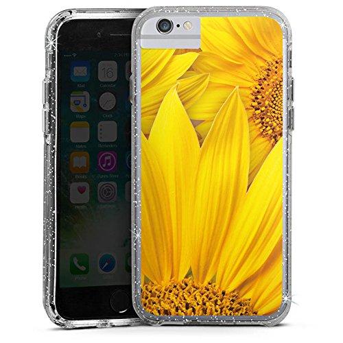 Apple iPhone 6s Plus Bumper Hülle Bumper Case Glitzer Hülle Sonnenblumen Gelb Yellow Bumper Case Glitzer silber