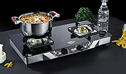 HOTSUN MATRIX SERIES 2 BURNER GLASS TOP GAS STOVE WITH HEAVY DUTY SQUARE STAINLESS STEEL PAN SUPPORT-BRASS BURNER (LIGHTER FREE WORTH 295)