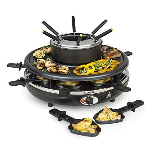 Klarstein fonduelette - piastra per raclette e fondue, 1350 w, pentola: 1 l, piastra: 38cm Ø, 8 persone, 8 padelline antiaderenti, manici resistenti al calore, 8 forche da fondue in acciaio inox