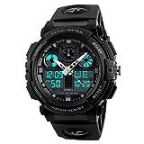 Amstt Unisex Sportuhren Digital Uhr Herren Damen Jungen Armbanduhr Militär Uhren mit Licht Wecker 5ATM Wasserdichten Outdoor Analog Digital Stoppuhr -Schwaz