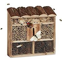Relaxdays Insektenhotel Zum Aufhängen, Bienenhotel, Schmetterlingshaus, Geflämmtes Holz, HBT: 31 x 30,5 x 9,5 cm, natur