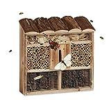 Relaxdays Hôtel à insectes en bois à suspendre abri abeille refuge papillon grillage HxlxP: 31 x 30,5 x 9,5 cm, nature