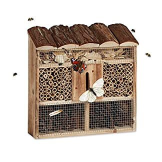 Relaxdays Hanging Insect Hotel, Bee Home, Butterfly House, Flamed Wood, HxWxD: 31 x 30.5 x 9.5 cm, Natural Brown Relaxdays Hanging Insect Hotel, Bee Home, Butterfly House, Flamed Wood, HxWxD: 31 x 30.5 x 9.5 cm, Natural Brown 518bM0IawBL