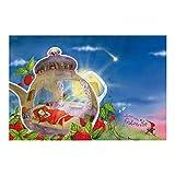 Vliestapete Premium–Fensterbild Erdbeerinchen Erdbeerfee–Schlaf gut.–Wandbild breit