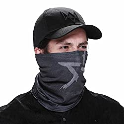 2 Pieces/set Watch Dogs Aiden Face MASK Cap Cotton Hat Set Costume Cosplay Mask Hat Mens 6 Panel Tactique Baseball Caps(Size:One size)