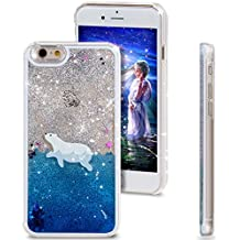 iPhone 5C Case, NSSTAR iPhone 5C con líquido, para iPhone 5C samfme, diseño creativo fluido líquido Cler Online Soko purpurina estrellas Carcasa rígida para Apple iPhone 5C, plástico, Swimming Polar Bear, Apple iPhone 5c