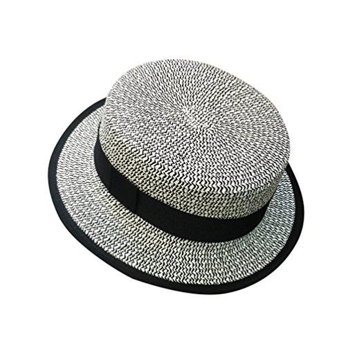 Yuncai Femme Flat-top Chapeaux de Paille été Chapeau de Soleil Bleu