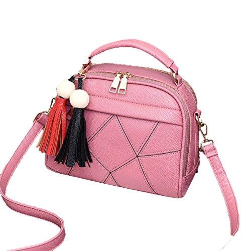 Lady Vintage Tassels Pu Borsa In Pelle Borsa A Tracolla Borsa A Tracolla Top-handle Per Donne Multicolore Pink