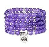 Milacolato Bracelet Mala 108 Perles Chapelet Bouddhiste Tête de Bouddha Pierres...