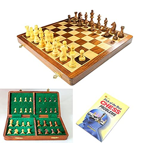 Stonkraft Handmade Premium wood 36 x 36 cm Chess Set - Rosewood Foldable Magnetic Set with Storage