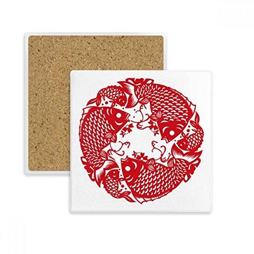 DIYthinker Papierschneide Fisch Festliche Platz Coaster-Schalen-Becher-Halter Absorbent Stein für Getränke 2ST Geschenk Mehrfarbig