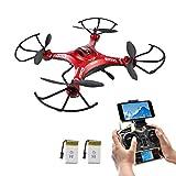 Potensic Drone con Telecamera, Wifi FPV 2.4GHz 4CH 6-Axis Gyro RC Quadcopter Drone con 2 Megapixel Videocamera HD, 3D Capovolgere Funzione –Rosso immagine