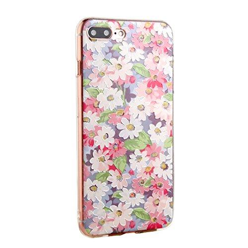 Voguecase® für Apple iPhone SE hülle, Schutzhülle / Case / Cover / Hülle / TPU Gel Skin (Aquarell Blätter) + Gratis Universal Eingabestift Weiße Pink Blüten