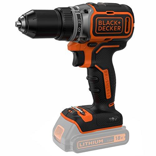 Black & Decker BL186K1B-QW Bohrmaschine Brushless 2 Geschwindigkeiten mit 2 Akkus 1,5 Ah/Schnellladegerät in Koffer 18 V