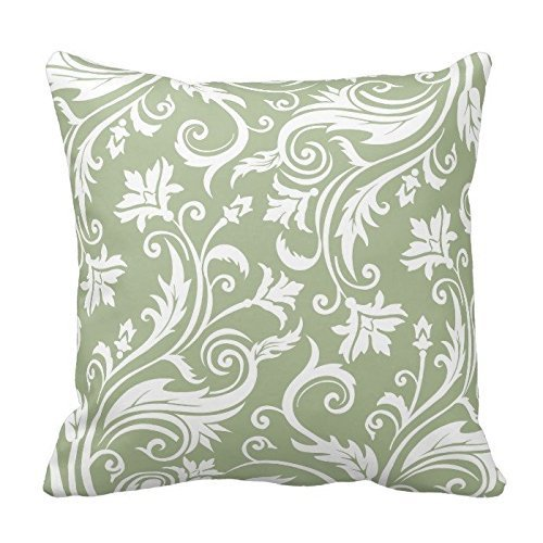 Sage Green and White Floral Pattern Throw Pillow Case Covers Flower Design Home Sofa Decorative Square 18x18 Two Sides - Sage Green Coffee