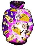 Casual Hoodie, Chicolife Unisex Lustige 3D Gedruckte Drawstring Katze Gesicht Katzen Hamburger Pizzas Grafik Hoodies Pullover Sweatshirts Kangaroo Tasche mit Velvet Plus Futter (M, Cat Pie)