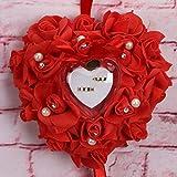 Alivier Romantic Rose Hochzeit Ring Kissen Herz Ring Kissen Jewelry Box, Color5, 25 x 25 x 14cm
