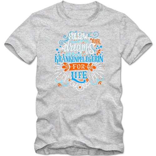 Flowerpower Krankenpflegerin #1 T-Shirt | Berufe-Shirt | Traumberuf | Follow your dreams | Frauen | Shirt Graumeliert (Grey Melange L191)