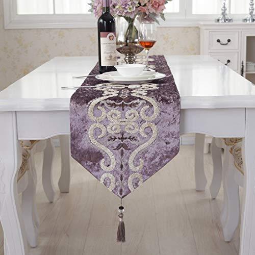 Lila Muster Herde Samt gestickt Quaste Hause dekorative party Tischläufer 33cm x 210cm