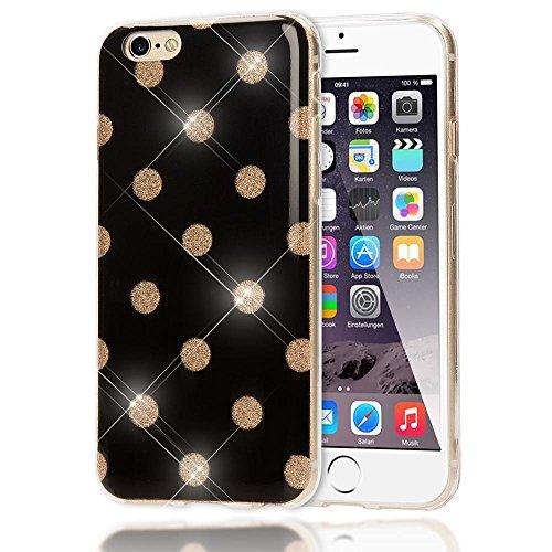 NALIA Punkte-Handyhülle für iPhone 6 6S, Glitzer Ultra-Slim Silikon-Case Back-Cover Schutz-Hülle, Glitter Sparkle Handy-Tasche Bumper Dünnes Bling Strass Etui für Apple iPhone-6S 6, Farbe:Schwarz