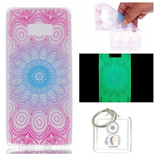 Preisvergleich Produktbild Hülle Leuchtende Galaxy Note8 (6,3 Zoll) Silikon Etui Handy Hülle Weiche Transparente Luminous TPU Back Case Tasche Schale Leuchten In Der Nacht Für Galaxy Note8 (6,3 Zoll) + Schlüsselanhänger (P) (18)