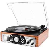 1byone riemengetriebener Schallplattenspieler mit eingebauten Lautsprechern, Plattenspieler Vinyl-To-MP3 Aufnahme und MP3 Wiedergabefunktion (33 / 45 / 78 U/min), Naturholz