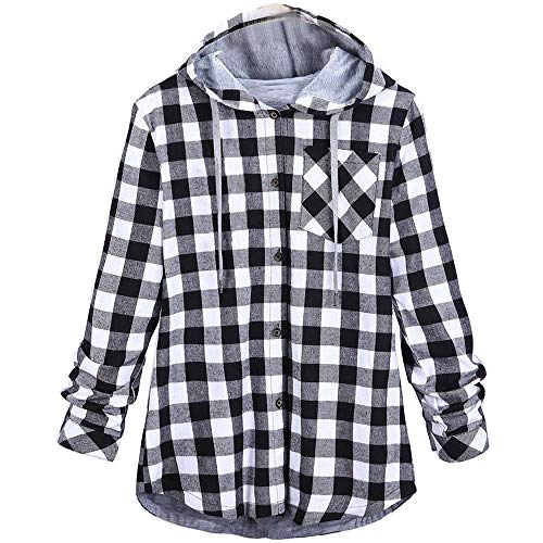 KIMODO Pullover Damen Lang Herbst Winter Plaid Sweatshirts Kapuzenpullover Hoodie Kapuzenjacke Bluse Oversize Tops Mode 2019