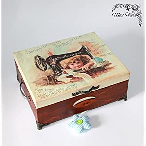 Nähen / Stricknadeln Box mit Nadelkissen ,Schubladen Box, Nähmaschine, Garn, Nadel, quilt, Sewing Supplies, Tilda