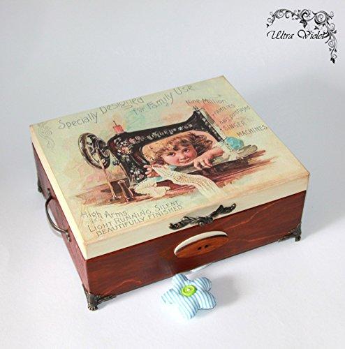 Nähen / Stricknadeln Box mit Nadelkissen ,Schubladen Box, Nähmaschine, Garn, Nadel, quilt, Sewing Supplies, Tilda - Schubladen Nähen