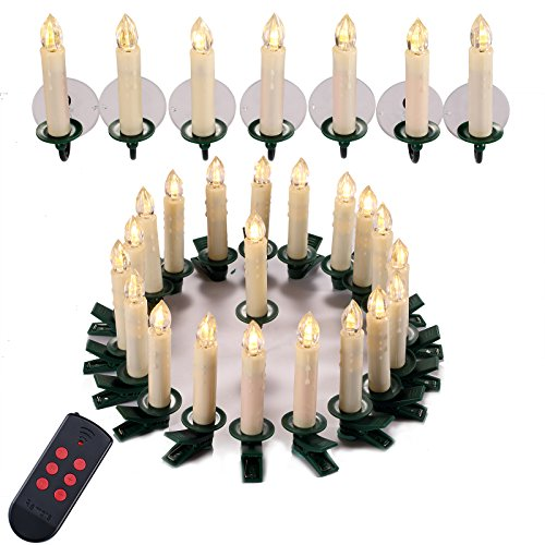 Yorbay 30er Set IP44 wasserdichte LED Weihnachtskerzen kabellos, Warmweiß Dimmbar mit Fernbedienung...