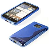 kwmobile TPU SILICONE CASE for Samsung Galaxy S2 S2 PLUS Design S Line blue transparent - Stylish designer case made of premium soft TPU