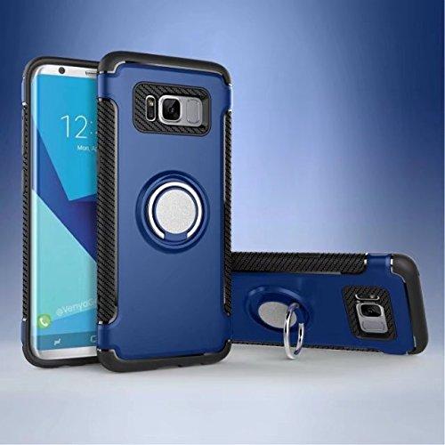 YHUISEN Galaxy S8 Fall, Rüstung Dual Layer 2 in 1 Heavy Duty Schutz Fall mit 360 Grad drehenden Finger Ring Halter und Magnet Auto Halter Fall für Samsung Galaxy S8 ( Color : Navy ) Blue
