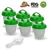 GESUNDHOME Egg Cooker Set de 6 - Silicona Hervidor de Huevos Antiadherente Pasado por Agua y Cocido Cocedor sin el Cáscara (Verde)