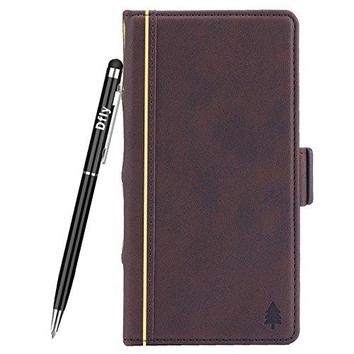 Dfly G7 Hülle, [Buch Stil] [Retro Premium PU Leder] Flip Abnehmbare Brieftasche Cover mit [Ständer Funktion] [Kartensteckplätze] [Magnetverschluss] [Free Touch Stift] - (LG G7, Kaffee)