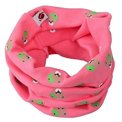 Kinder Cottton Halswärmer Schlauchschal Tube Schlauchschal Rundschalmodelle Loopschal in verschiedenen Farben (Rosa (Mädchen Bären muster))