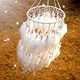 """arhsszy 100% Handmade Indian Hanging Fluffy White Feather Pearl Lantern Dreamcatcher Wind Chimes Pendant Dream Catcher Supplies Home Decor car Pendant Gift (Approx Length 19.6"""",Dia 9"""")"""