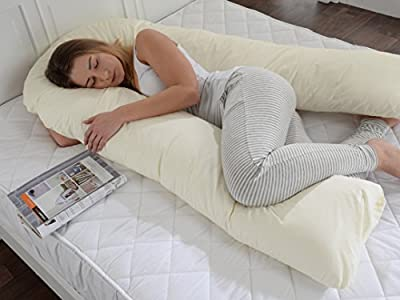 Big C U Maternity Pregnancy Back Support Hollowfibre Filled Pillow With Removable Zip Cream Cover
