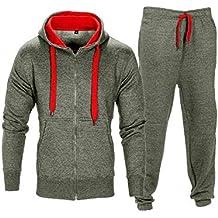 Contraste de Cuerda Forro Polar Gimnasio Conjunto del Chándales Pantalón Jogging Capucha Sudaderas para Hombre Talla