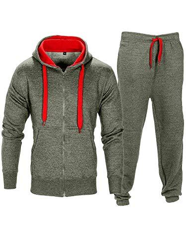 Homme Contraste Corde Sweat à Capuche Pantalon Gym Survêtement  - Charbon/Rouge - M
