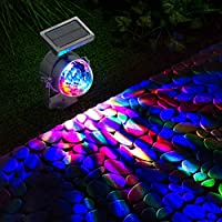 GloBrite Solar Powered Colour Changing Revolving LED Spotlight Carnival Garden Party Stake Light 15