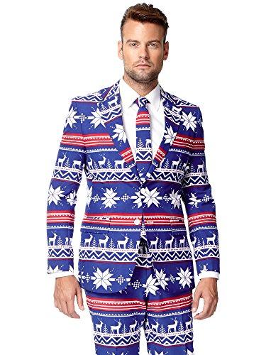 (Opposuits Weihnachtsanzüge für Herren besteht aus Sakko, Hose und Krawatte)