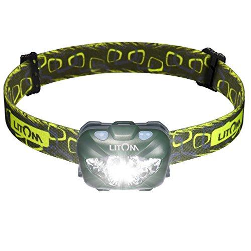 Litom Led Stirnlampe mit weiß/rotlich Licht, 168 Lumen, 110-Meter-Beleuchtung, 6 Modi, ideal zum Laufen, Camping, Wandern, Jagen, Outdoor-Sport und vieles mehr(Grün)