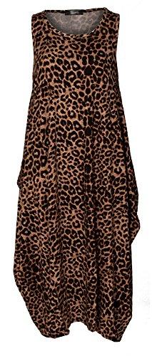 Re Tech UK Vestido - para mujer Marrón Estampado De Leopardo 40-42