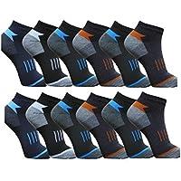BestBuy-Shop 12pares HOMBRE Zapatillas/Calcetines para deporte y ocio–Alto contenido de algodón–Diseñado en Alemania–Tamaño 39–42, 43–46, primavera/verano, color diseño 3, tamaño 43-46