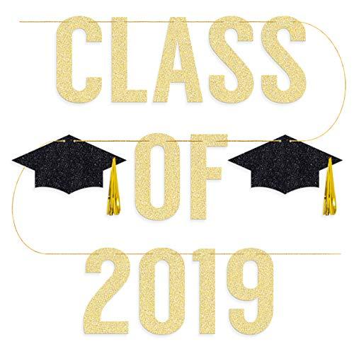 - Klasse 2018 - Banner - Vorbesaitung - Party-Dekoration, Abschlusskappe mit Quaste, Gold und Schwarz ()