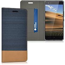 kwmobile Funda para bq Aquaris X5 - Case con tapa cover de tela con cuero sintético - Carcasa plegable azul oscuro marrón