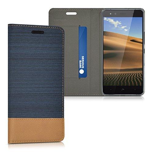 kwmobile bq Aquaris X5 Hülle - Stoff Handy Cover Case mit Ständer - Schutzhülle für bq Aquaris X5