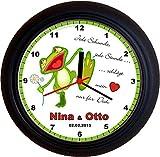 Lucky Clocks Verliebter Frosch Valentinstag Jahrestag Wanduhren für Jeden Anlass mit jeder Beschriftung und Jedem Vornamen Namen erhältlich